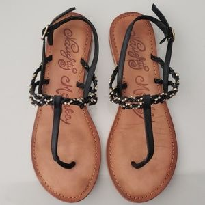 Naughty Monkey Blk Leather/Diamonds Sandals Sz 8.5
